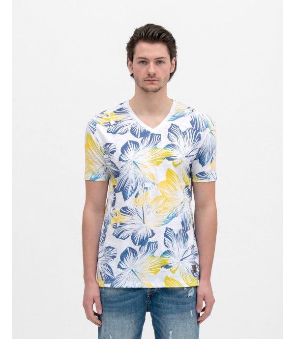 T-shirt scollo a v con stampa tropical