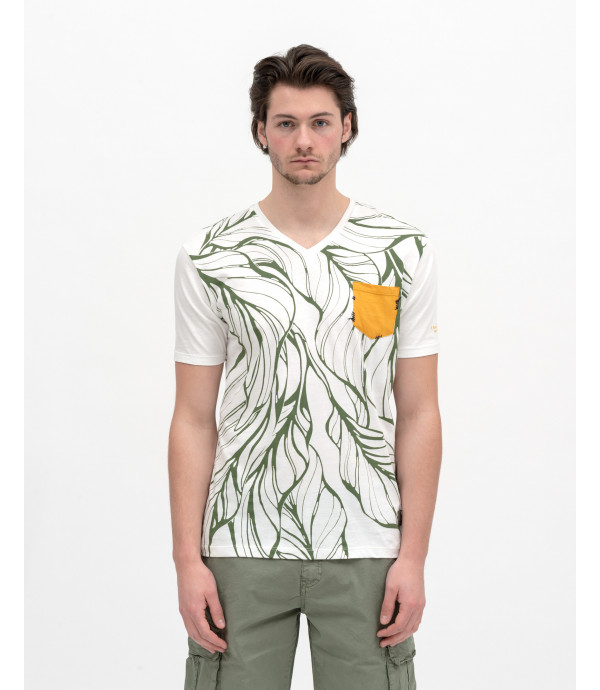 T-shirt stampa outline floreale con taschino