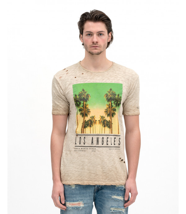 T-shirt melange con stampa