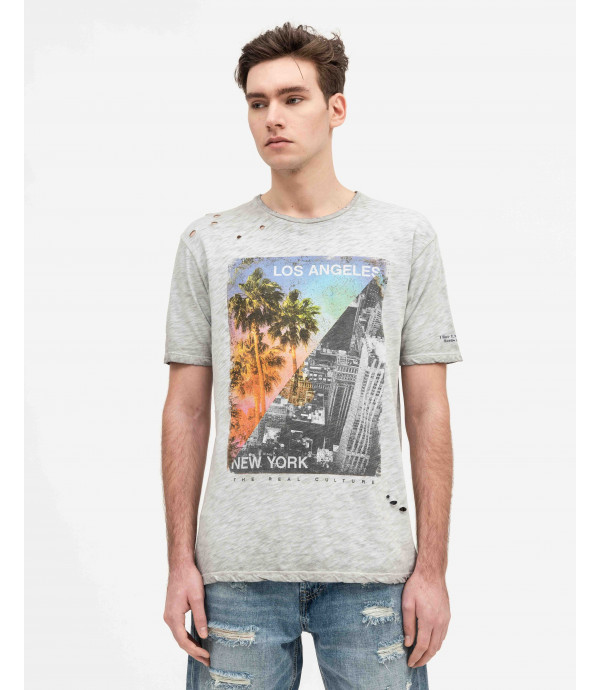 Slubbed t-shirt with print