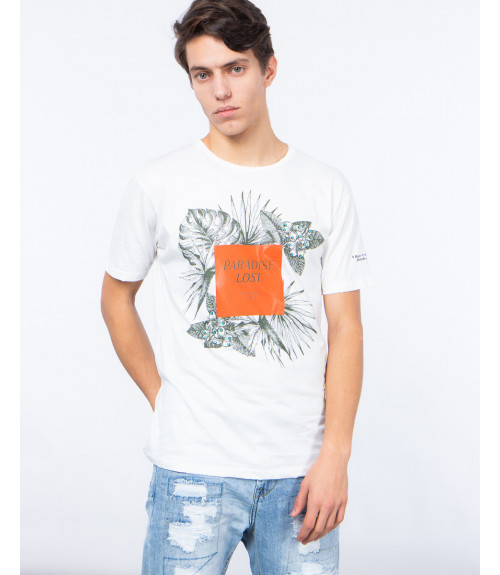 T-shirt con stampa lucida