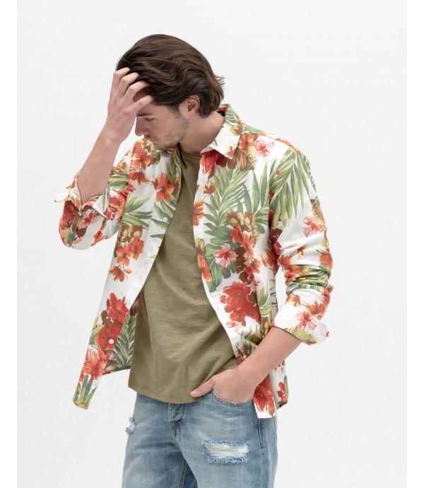 Camicia con stampa tropical