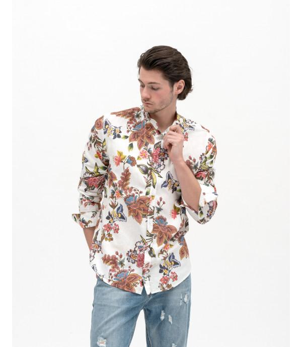 Camicia collo alla coreana con stampa floreale