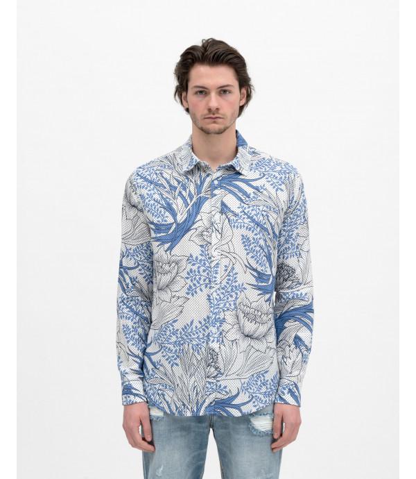 Camicia tessuto puntinato con stampa floreale