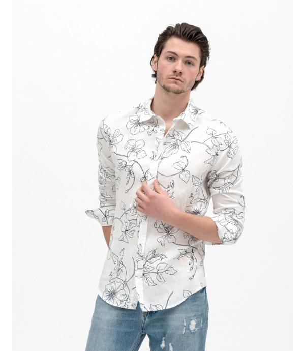 Camicia misto lino stampa floreale