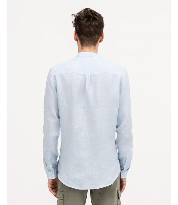 Camicia serafino con collo alla coreana