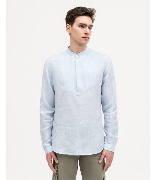 Button-neck shirt with mandarin collar
