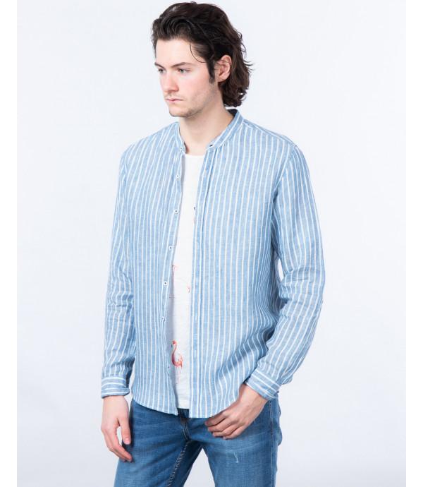 Camicia serafino a righe in lino