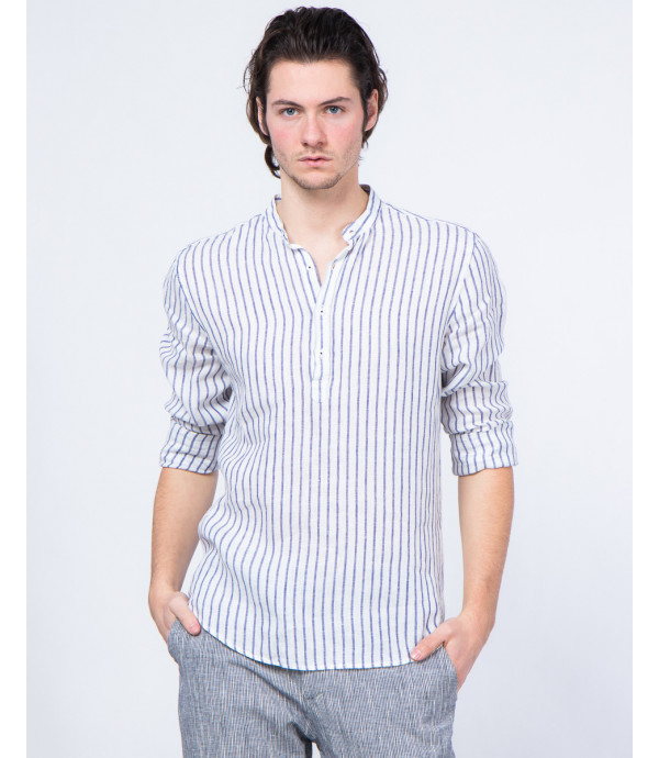 Striped button-neck shirt in linen