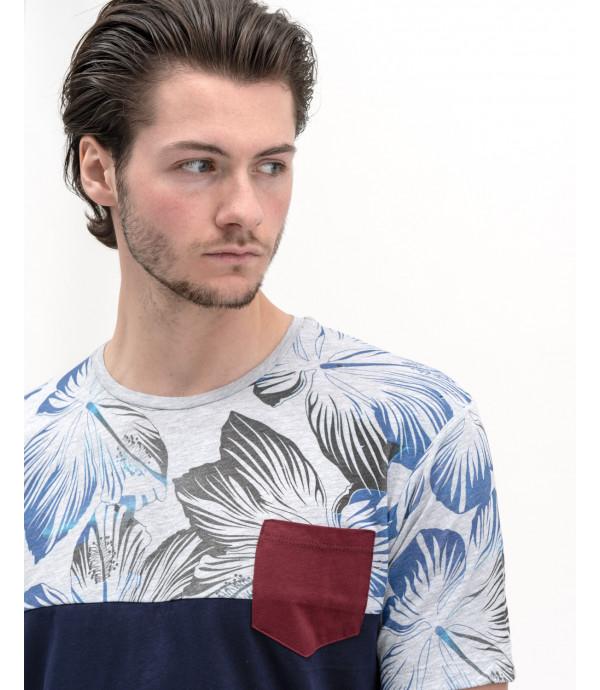 T-shirt colour block con fantasia tropical