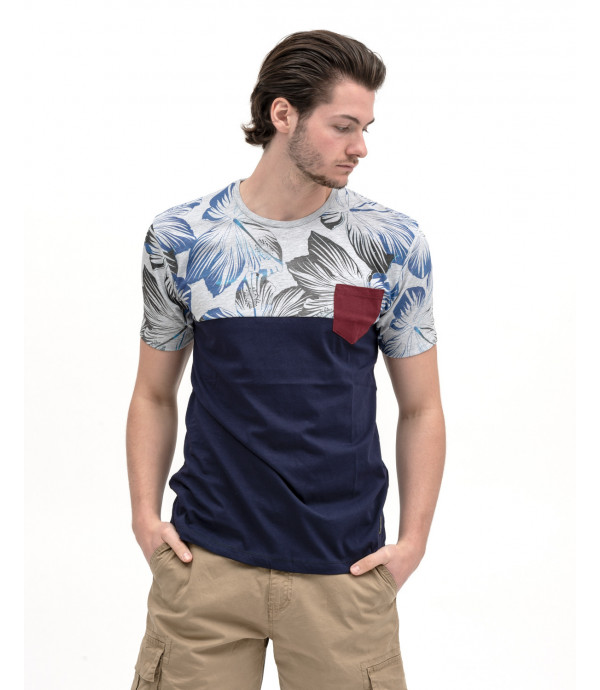 Block colour t-shirt with tropical print