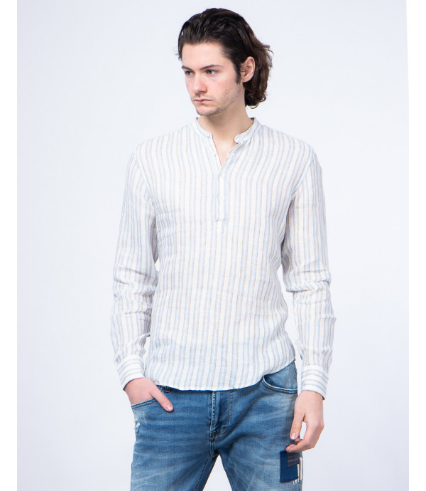 Striped button-neck shirt