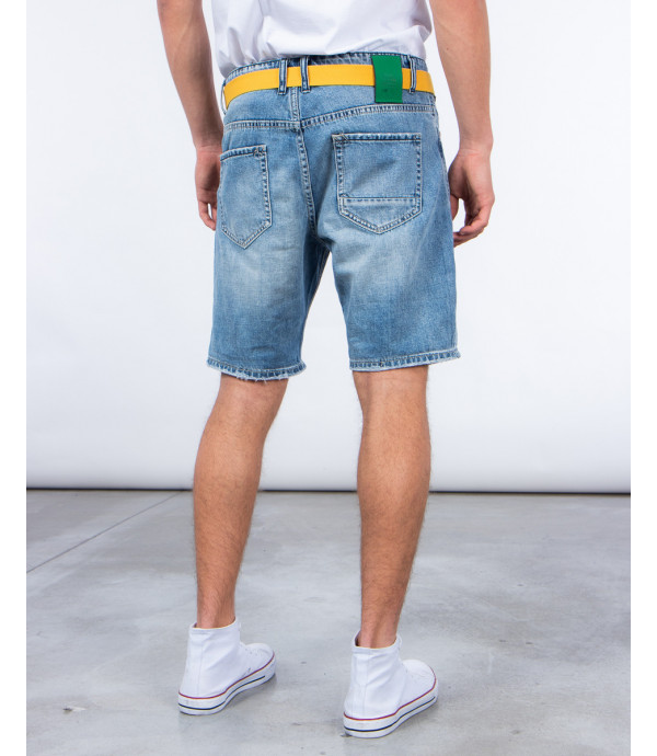 Denim shorts with rips medium wash