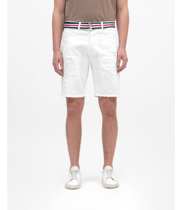 White denim shorts with rips and repairs and striped belt