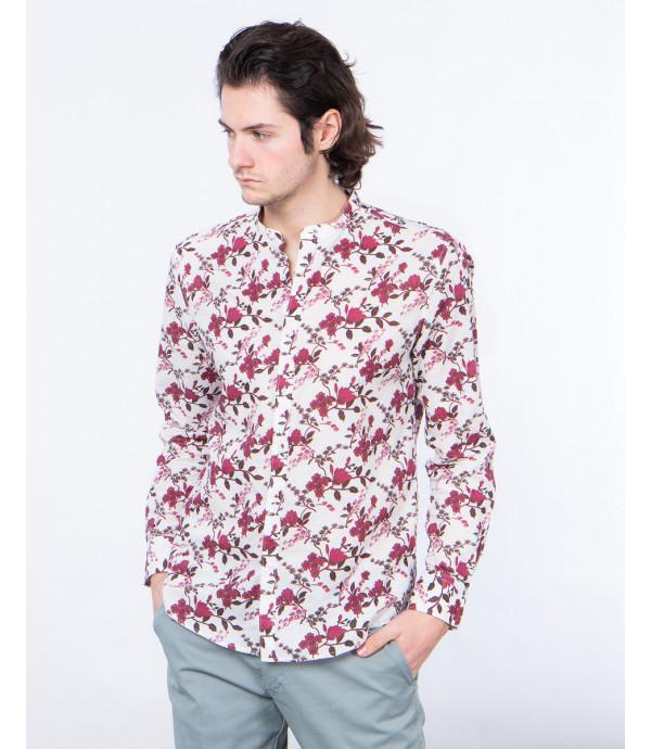 Camicia con collo alla coreana in lino