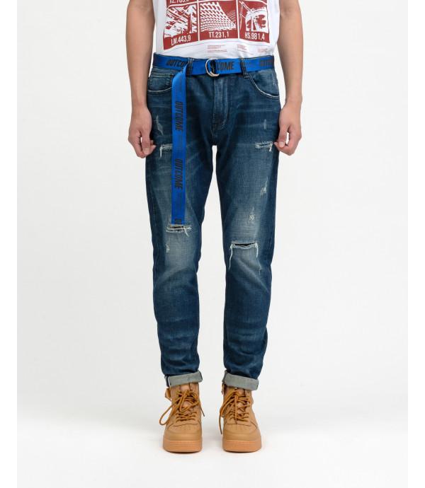 Jeans regular fit OUTCOME medium wash con rotture e cintura