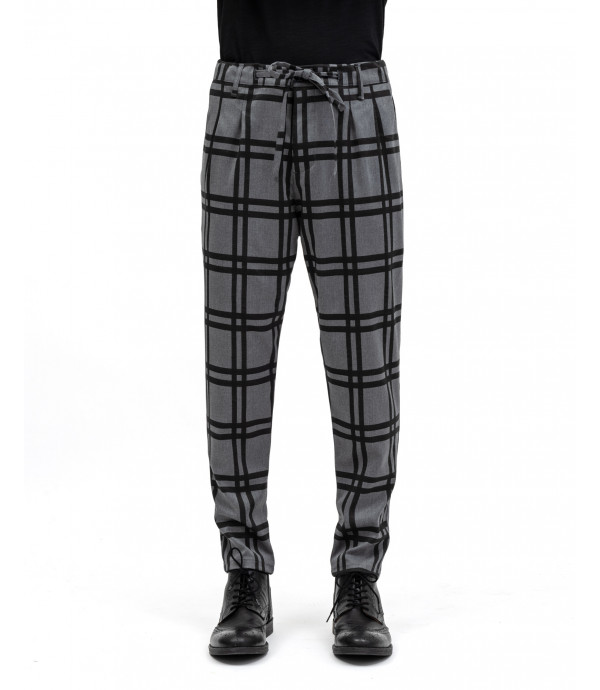 Drawstring checked trousers with pleats