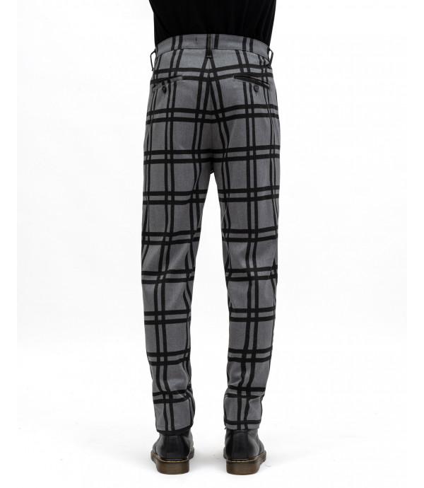 Pantaloni a quadri con pinces