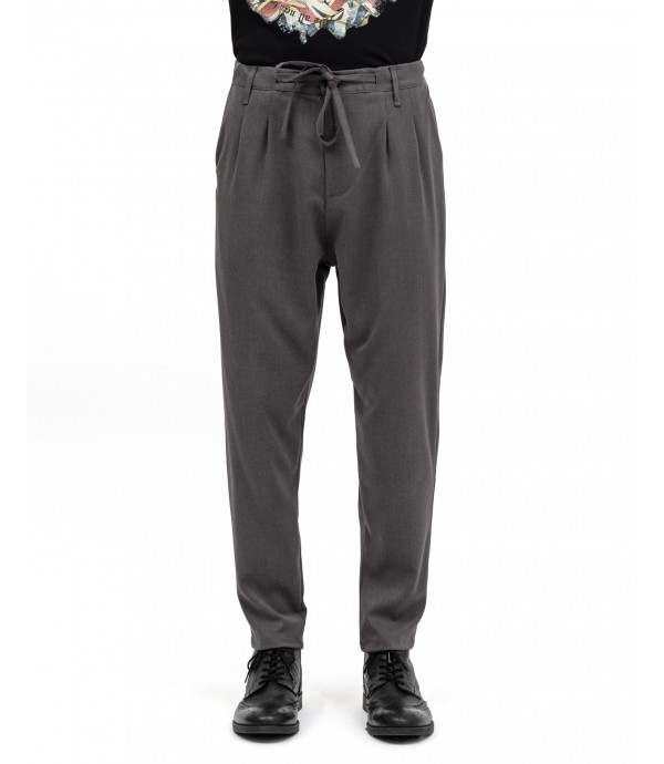 Drawstring trousers with pleats