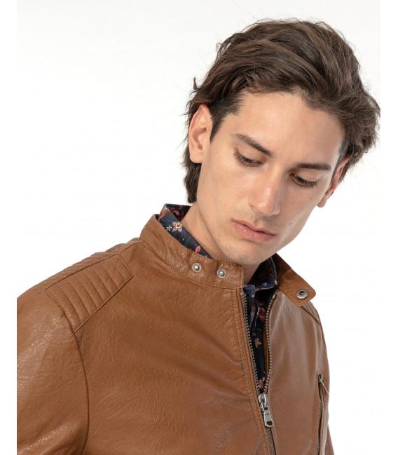 Faux-leather jacket