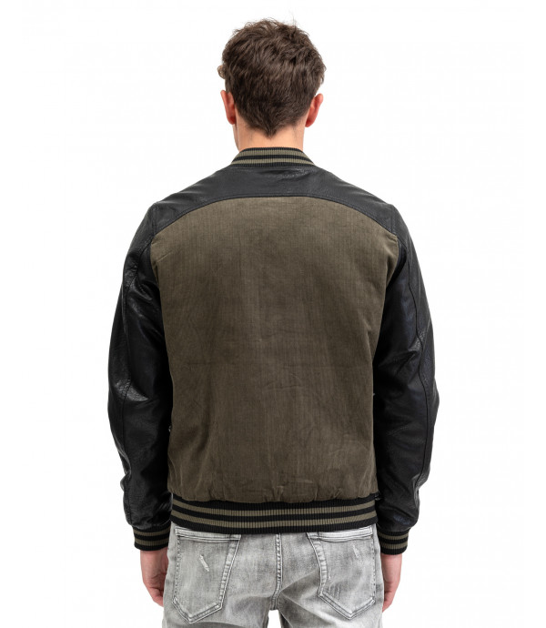 Bomber jacket in corduroy with faux-leather sleeves