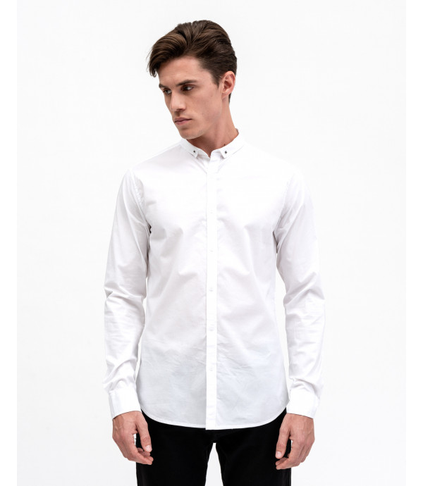 Cotton shirt with collar detail