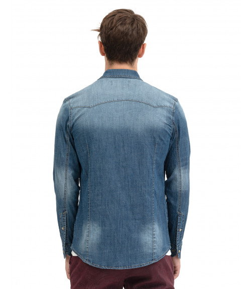 Medium wash denim shirt with snaps