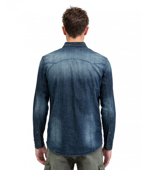 Dark wash denim shirt with snaps