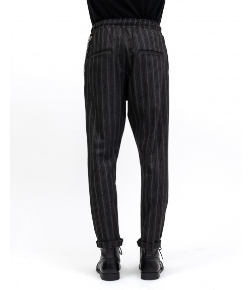 Striped drawstring trousers with chain