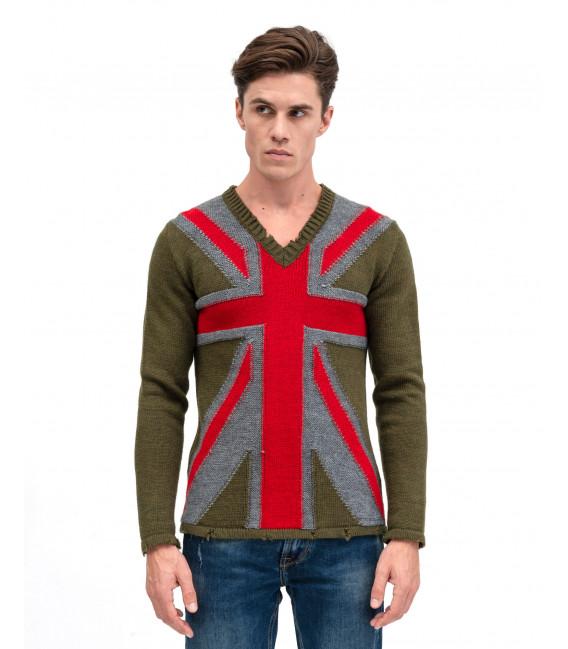 V-neck sweater with Union Jack