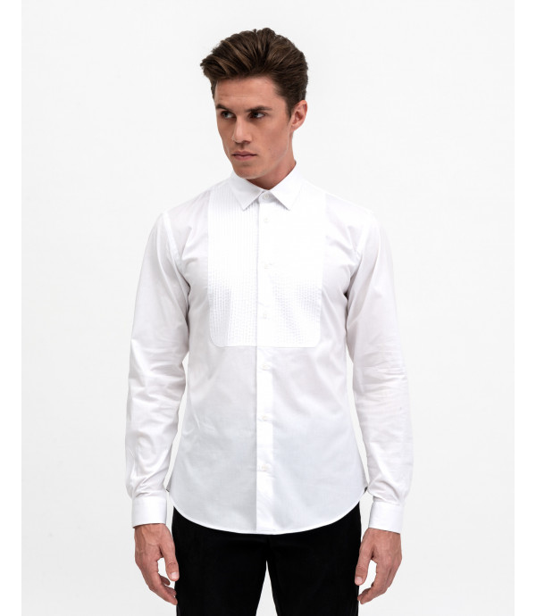 Shirt with pleated front bib