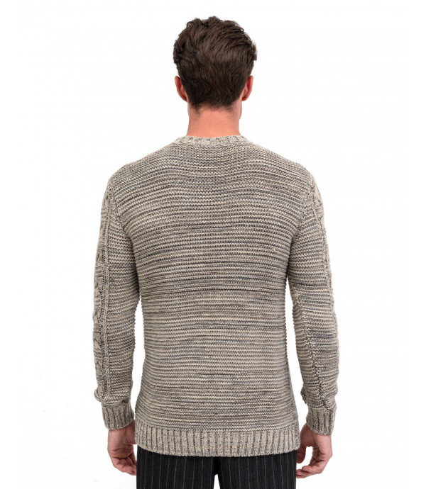 Melange sweater with frontal knitted texture