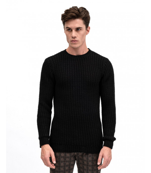 Crew neck oose knit sweater