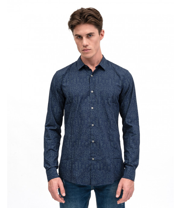 Tone on tone pattern shirt