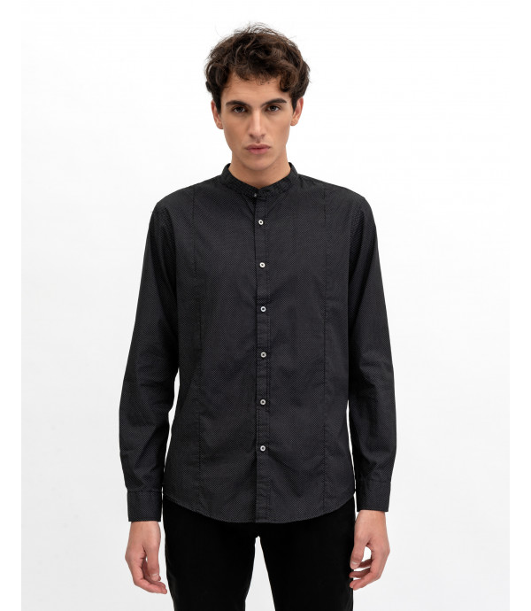 Patterned mandaring collar shirt