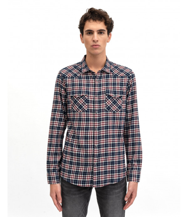 Checked shirt with snaps