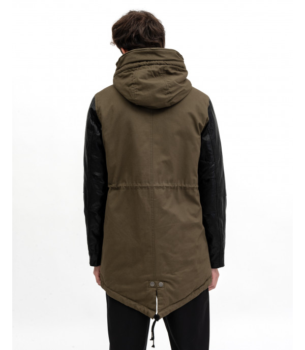 Parka with faux-leather sleeve