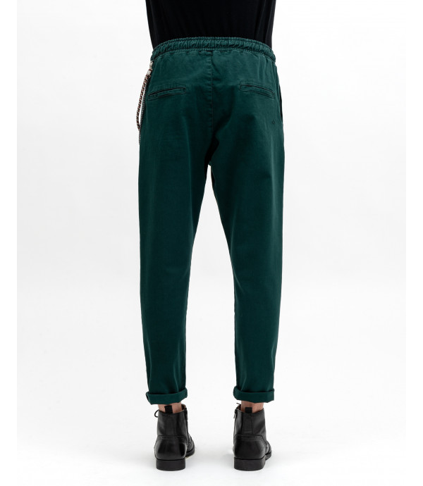 Drawstring trousers with chain