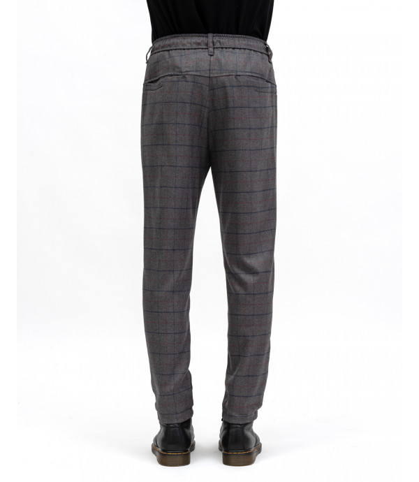 Checkd drawstring trousers