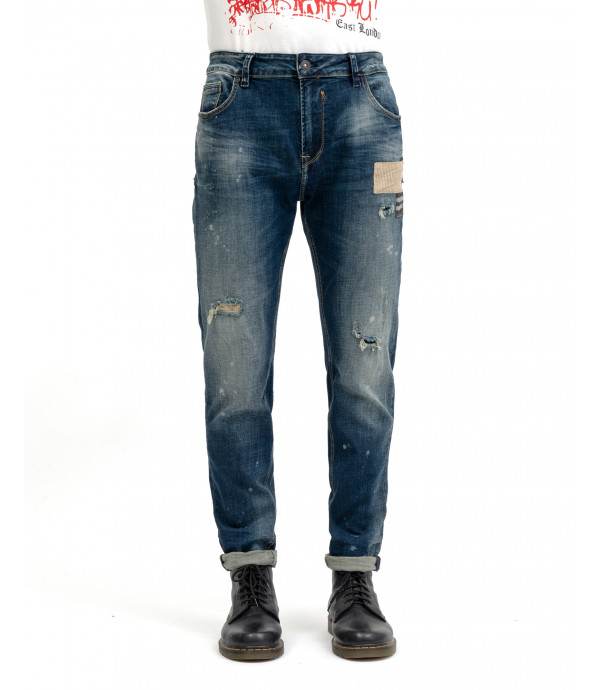 Regular fit jeans with rips and corduroy patches