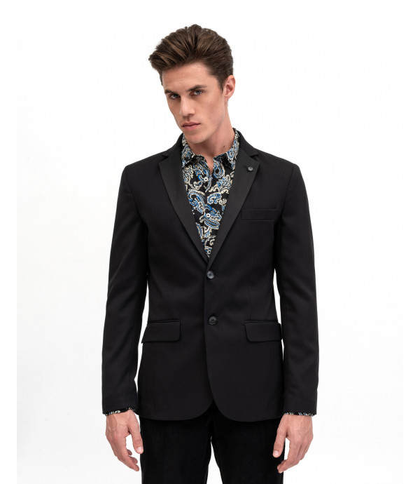 Jacket with satin rever