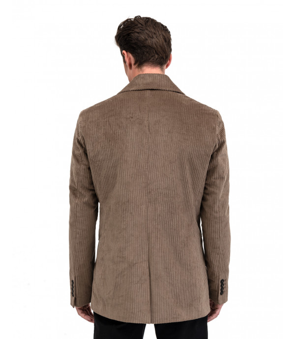 Double breasted short coat in corduroy