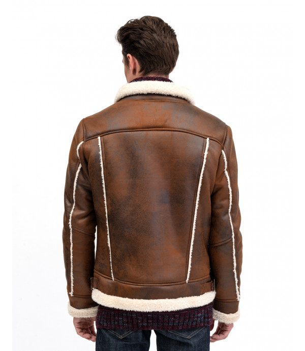 Faux-leather jacket with shearling
