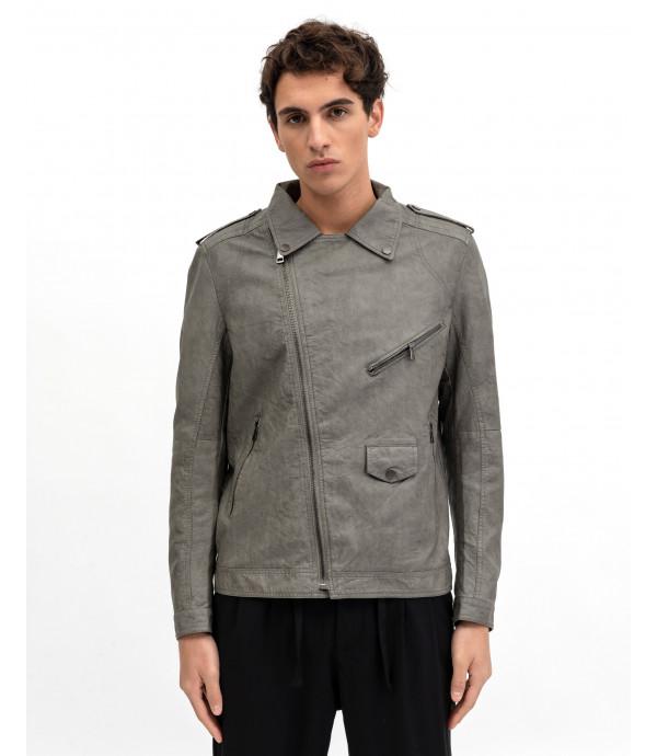 Biker style faux-leather jacket