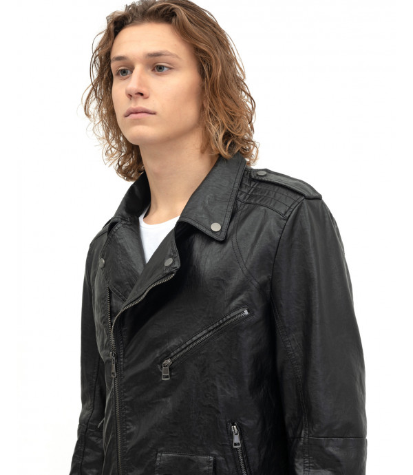 Faux-leather biker