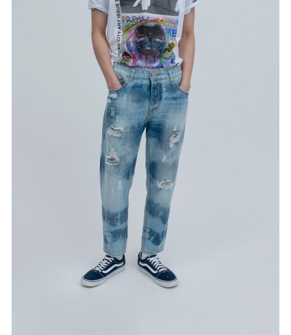 Tie-dye carrot fit jeans