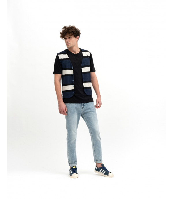 Striped knitted waistcoat