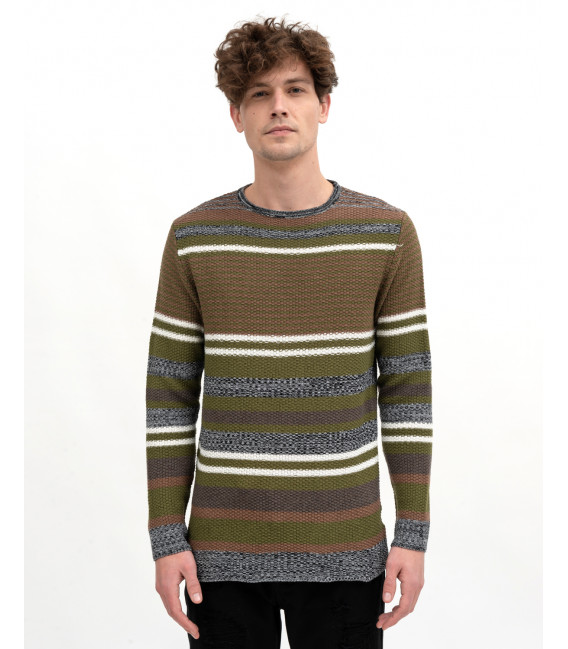 Earth colors striped sweater