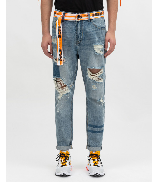 Bleached ripped carrot fit jeans