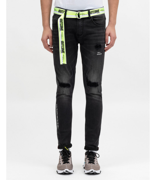 Skinny fit jeans with text